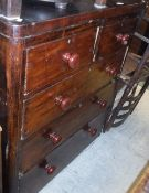 A Victorian pine chest of drawers, the plain top above two short and three long drawers,