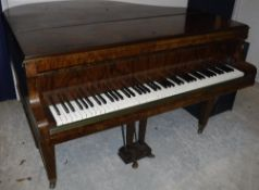 A burr walnut cased boudoir grand piano with iron framed over strung movement by Boyd of London 142