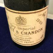 One bottle Moet & Chandon champagne 1969 and 2 bottles Chardonnay vin mousseux (M&S)