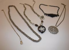 Six various necklaces to include silver