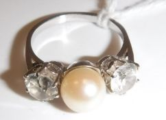 A white gold mounted (un-marked) pearl a