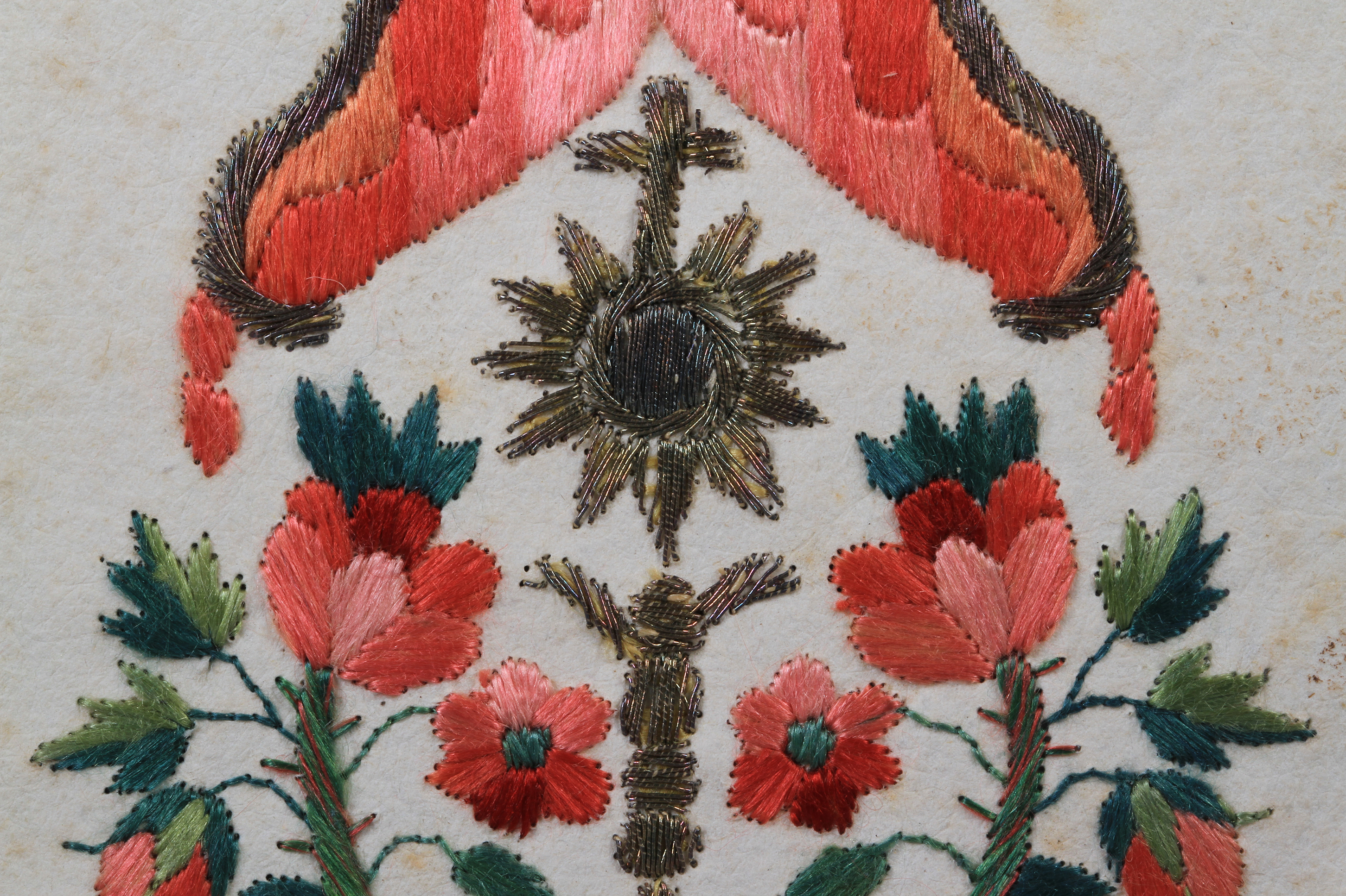 Lot 3 - AN EARLY 18TH CENTURY FRENCH CONVENT WORK 'COLIFICHET' CIRCA 1715, double sided embroidery in