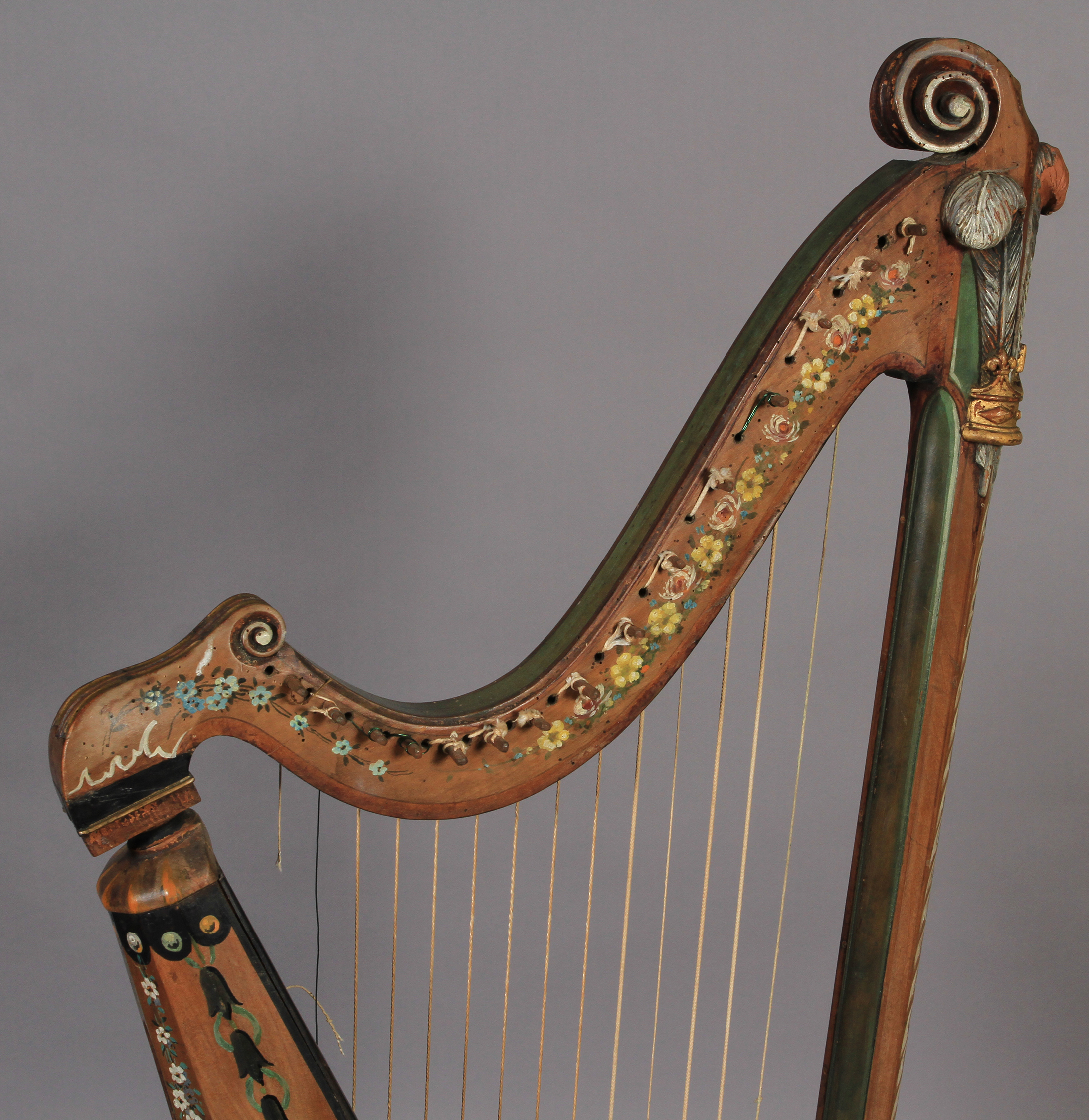 Lot 45 - A 19TH CENTURY PAINTED PINE HARP with scroll carved crown above 'Prince of Wales Feathers' and