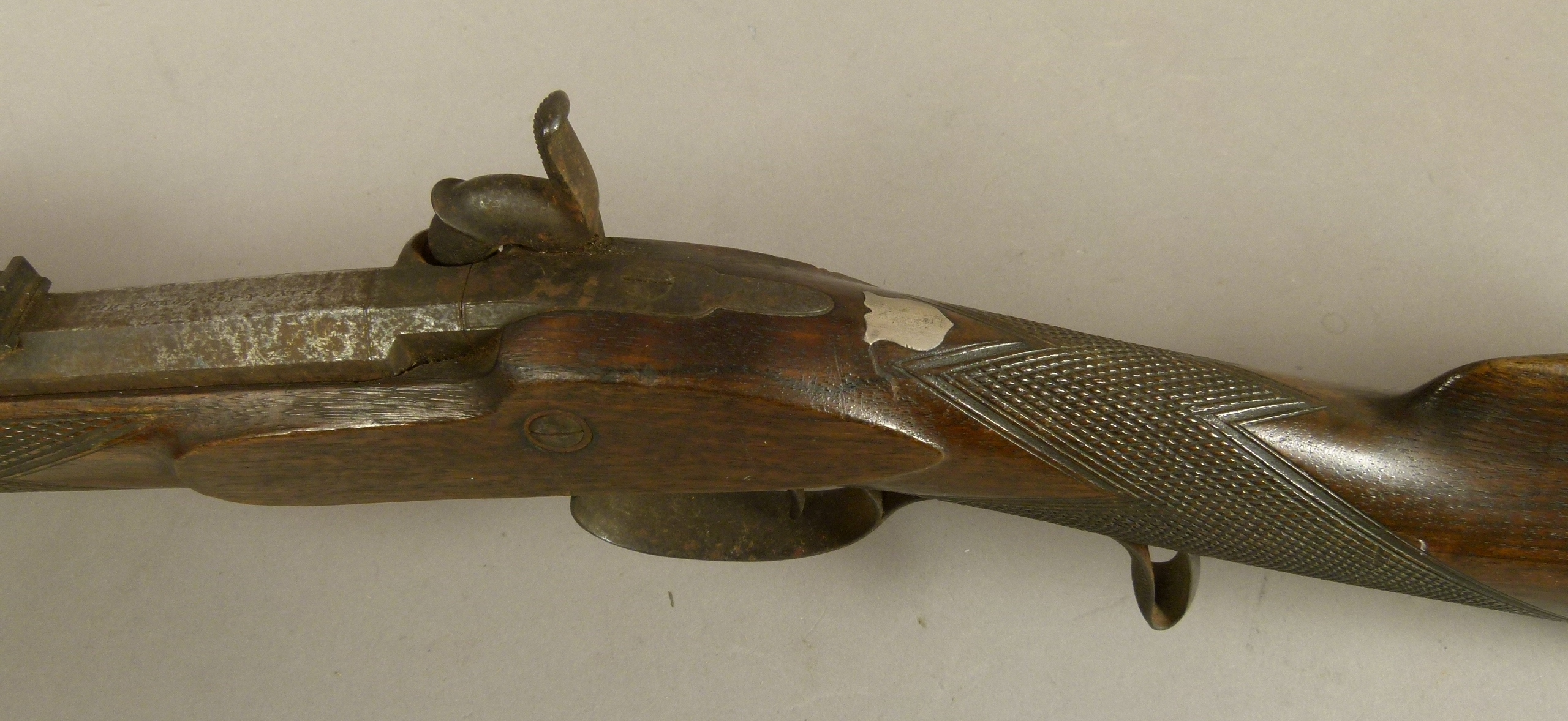 Lot 36 - A PERCUSSION SPORTING RIFLE by Deane & Son, London c.1825, octagonal barrel, rear sighted, signed