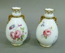 A pair of modern Swansea bone china ovoid vases, 10cm high