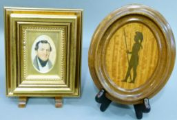 A 19th century oval miniature watercolour of a gentleman, 8cm x 5cm and an oval plaque decorated