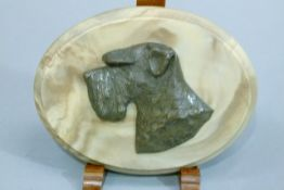 A patinated metal relief bust of a terrier's head on an oval plaque, 18cm wide