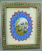 A Persian miniature, the oval shell painted with figures on horseback within a landscape, within a