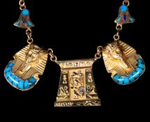 AN EGYPTIAN NECKLACE, the pharoesque pendants set with turquoise and coral inlay hung on a Byzantine