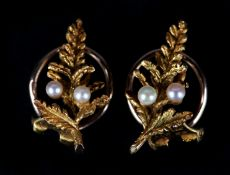 A PAIR OF SEED PEARL SET CHRISTMAS TREE EARRINGS by Alabaster and Wilson in 9ct gold c.1963 each