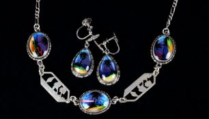A SUITE OF NECKLACE AND EARRINGS in silver set butterfly wing by T.L Mott Ltd, the necklace having