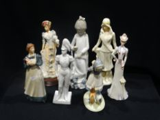 A Group Of Seven Various Ceramic Figures, Including Nao