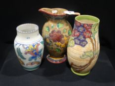 A Charlotte Rhead Floral Decorated Vase & Two Others (Af)