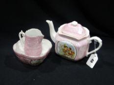 A Victorian Pink China Souvenir Three Piece Tea Service