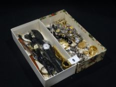 A Small Box Of Mixed Wrist Watches, Together With A Small Box Of Costume Jewellery