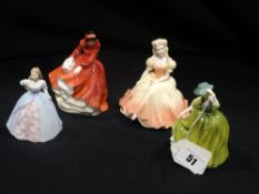 Four Miniature Royal Doulton & Coalport China Figures