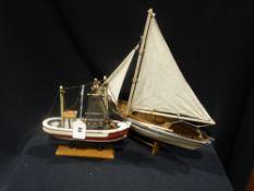 Two Contemporary Model Boat Ornaments