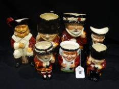 Seven Beefeater & Other Pottery Character Jugs