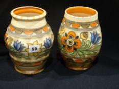 Two Crown Ducal Charlotte Rhead Design Bulbous Vases