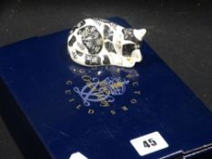 A Boxed Royal Crown Derby Collectors Club Paperweight, Sleeping Cat