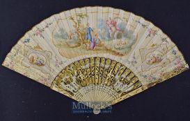 An Early Dutch Folding Fan, c. 1780s A beautiful folding fan with bone pierced and inlaid guards