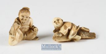 19th century Japanese Carved Ivory Netsukes one of a seated man (A/F) and the other of a child