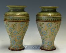 Pair of Royal Doulton Slaters Stoneware Vases marked 7585, F, with 'Lion, Crown and connected D'