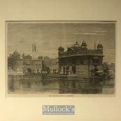 India - 19th century engraving showing the holiest Sikh shrine the Golden temple, Amritsar Punjab.