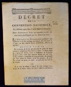 France - Death Sentence for 'Emigres' who take up arms against the French Regime 1792 – small folio,