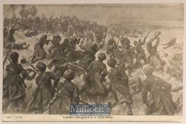 India – WWI Original postcard showing Sikhs charging a German trench during c1914