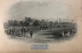 India & Punjab – View of Lahore antique steel engraving of Lahore showing the Badshahi Mosque and