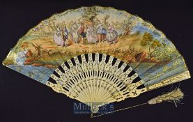 A Beautiful Early European Folding Fan 1820s-40s - With pierced shaped and metal inlaid bone