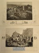 Crimean War steel engravings selection to include Removal of Wounded Soldiers from the Field of