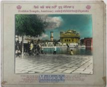 India & Punjab – Golden Temple Amritsar large vintage antique handcoloured photograph of the holy