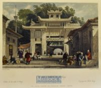 China - 1843 Entrance into the City of Amoy colour engraving drawn by T. Allom measures 25x20cm