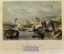 China - 1843 Amoy, from the Outer Anchorage coloured engraving drawn by T. Allom measures 25x20cm