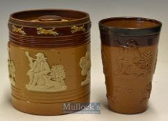 Royal Doulton – Doulton Lambeth Stoneware Pottery Tobacco Jar and Beaker the tobacco jar marked 7838