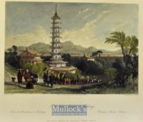 China - 1843 Porcelain Tower Nanking coloured engraving drawn y T. Allom measures 25x20cm approx