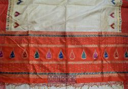 India – C1960s Sari in Silk beautifully designed featuring heart shaped designs, with golden