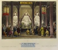 China - 1843 Great Temple at Henan, Canton coloured engraving drawn by T. Allom measures 25x20cm