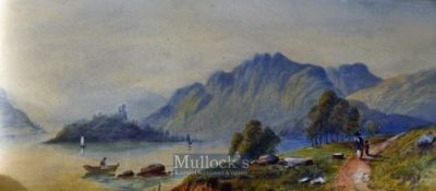 Asia Artwork – Pair of Watercolour Paintings depicting River Views with Mountains in background,