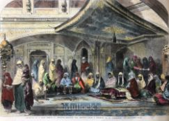 India & Punjab - Golden Temple hand coloured engraving of the interior of the Golden Temple of