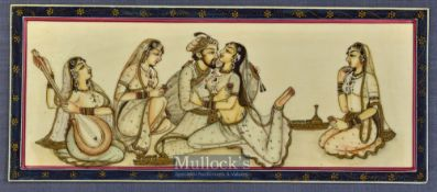 Fine Indian Miniature painting gouache on ivorine 19th century depicts a prince with four female