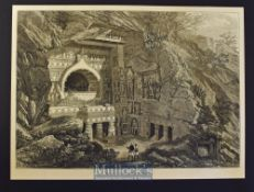 India - Buddhist Rock-Cut Temple, Ajunta 1876 original engraving with text information to reverse,