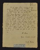 Hutton, Matthew Autograph Letter 1701 - Antiquary Responds to request for information. Written