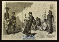 India - Bombay - Three original engravings 1875 to include Religious Service of the Jainas Bombay^