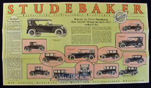 Motoring - Studebaker Cars^ 1923 Catalogue An impressive fold out catalogue illustrating and