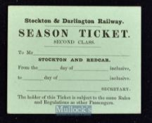 Stockton and Darlington Railway Company^ c.1850-60s Ticket 2nd Class season ticket between