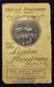 """Aviation - The London Aerodrome^ """"The Aerial Derby"""" Hendon^ Saturday 20th September 1913 Official"""