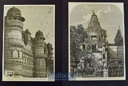 India - Two engravings Temple of Juggonath Rai^ Oodeypore Meywar 1868 and Side View of the Palace of